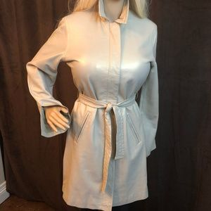 Express Butter Leather Beige Luster Trench Coat